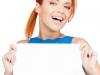 woman showing white blank board